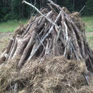 biochar wood stack