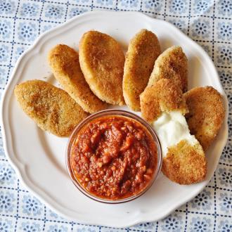 Homemade Fried Mozzarella Patties with Marinara Sauce