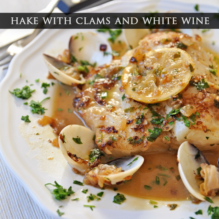 Hake with Clams and White Wine