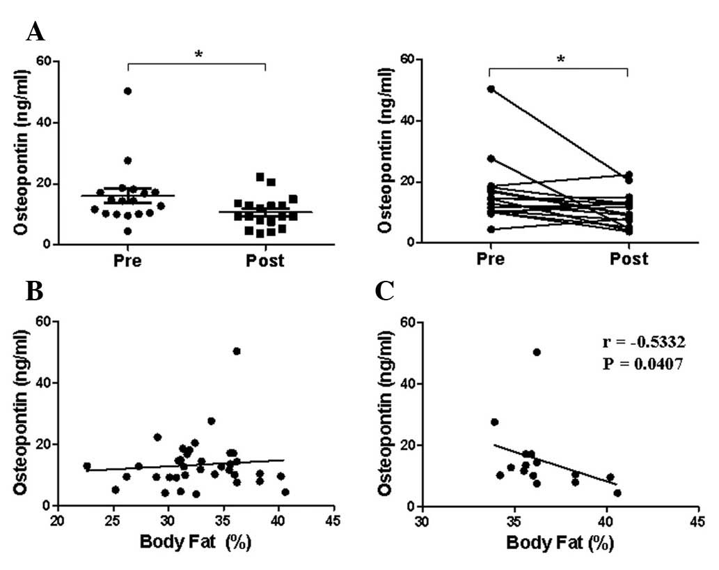 Serum Osteopontin Concentration Is Decreased By Exercise
