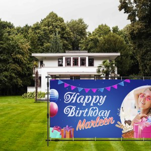 happy birthday spandoek blauw tuin