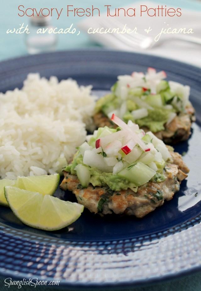 Savory Fresh Tuna Patties with Avocado, Cucumber, and Jicama