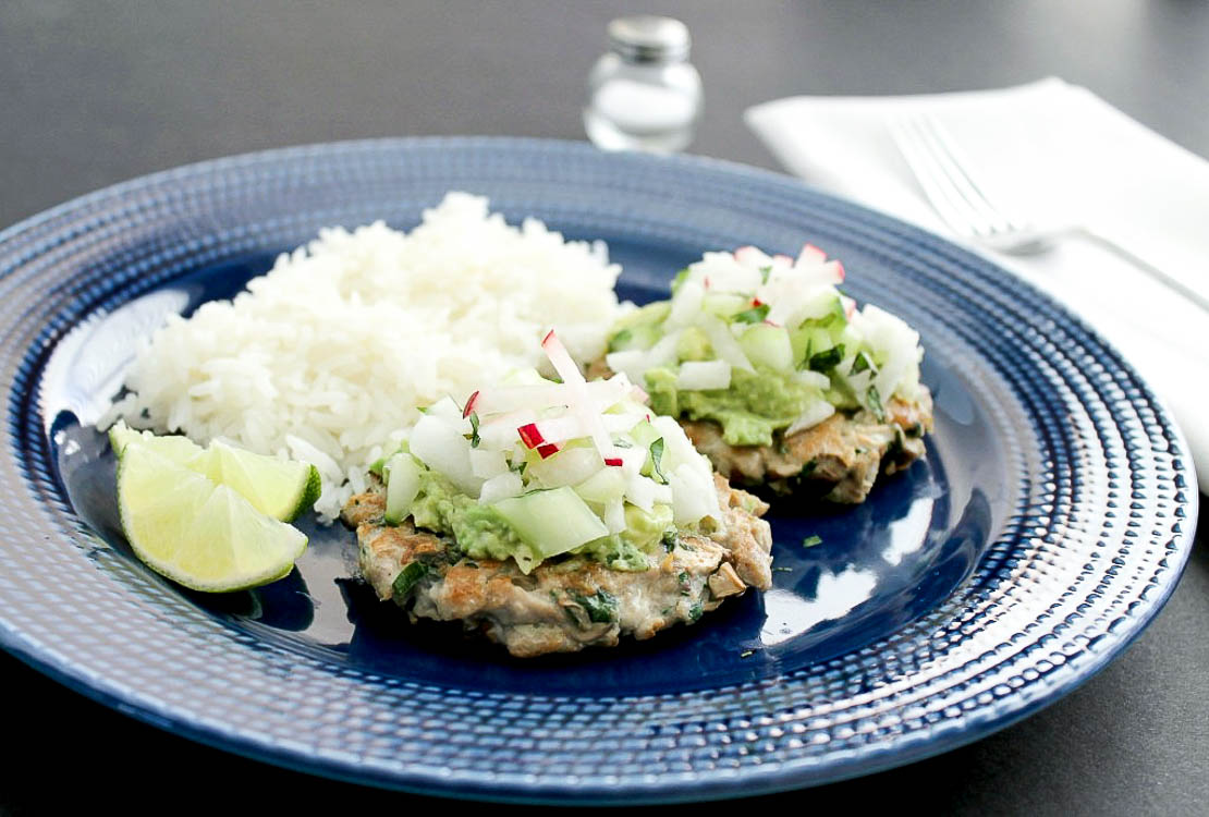 Tuna Patties with Avocado, Cucumber, and Jicama
