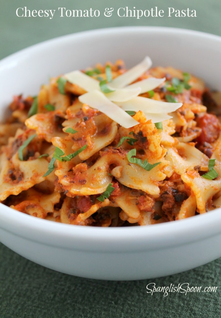 Bowtie pasta with a cheesy tomato sauce and a hint of chioptle chile