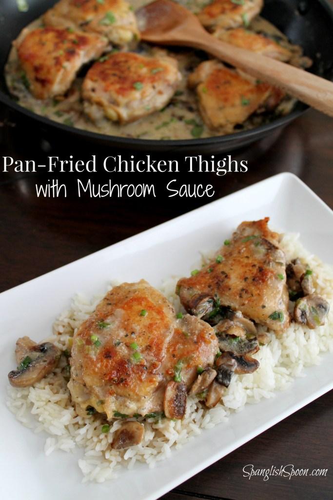 Pan-Fried Chicken Thighs in Mushroom Sauce
