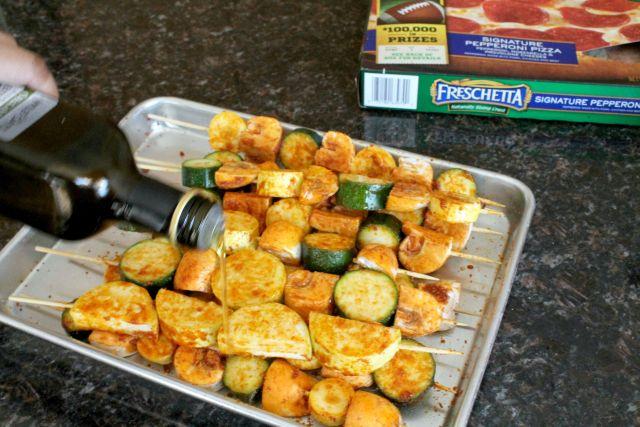 Grilled Seasoned Veggie Kabobs with Freschetta Pizza 5.2