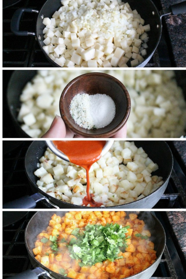 Breakfast Potatoes With Enchilada Sauce