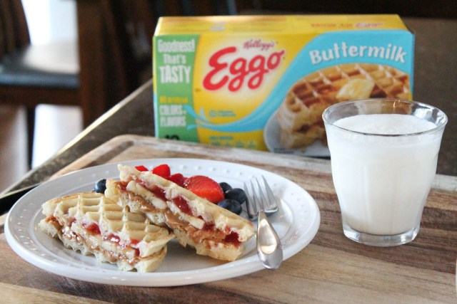Eggo Waffle Peanut Butter and Jelly Sandwich