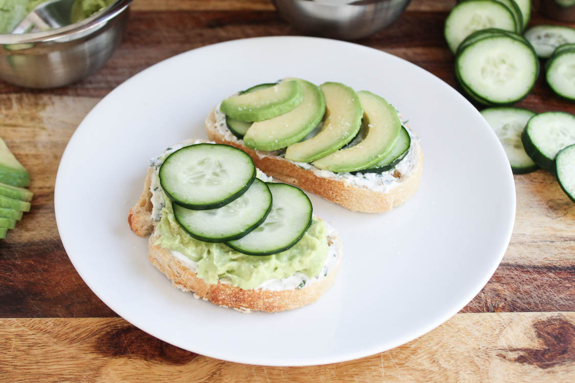 Avocado and Cucumber Open-Face Sandwich