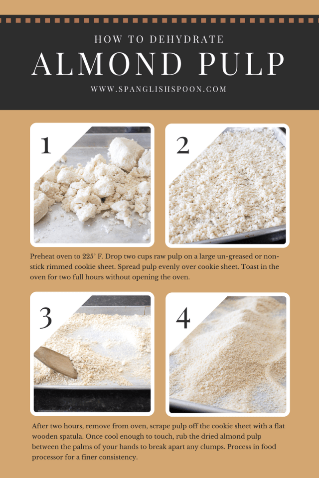 How to dehydrate raw almond pulp in the oven, plus learn creative ways to use almond pulp.