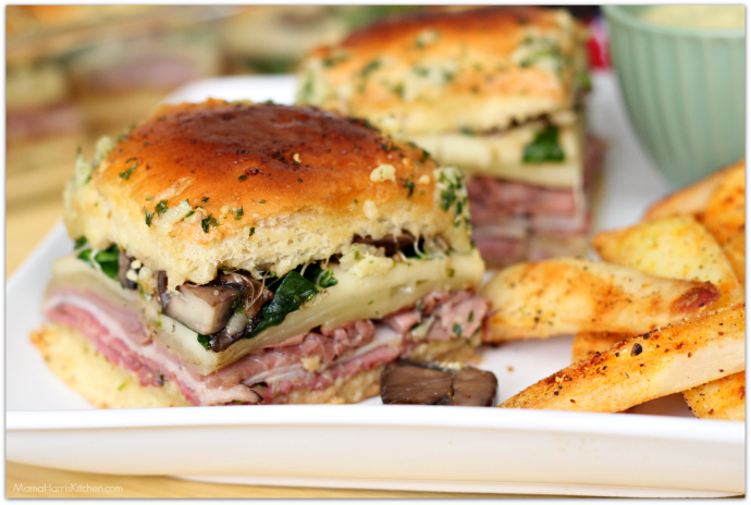Deli sandwich style sliders by Mama Harris' Kitchen