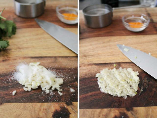 Minced garlic with sea salt then smashed into a paste.