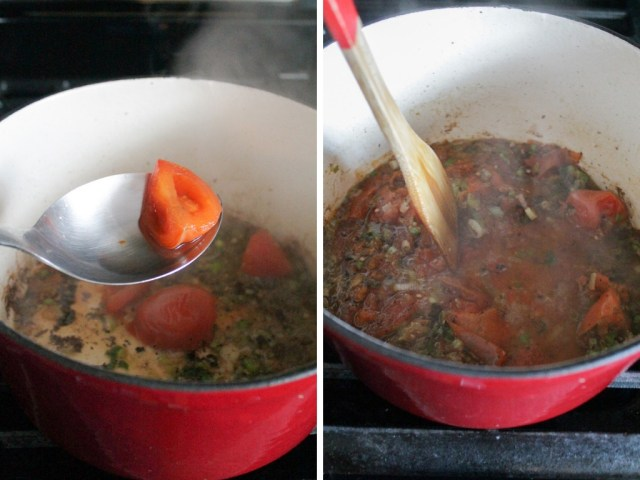 Tomato being added and stirred into a pot.