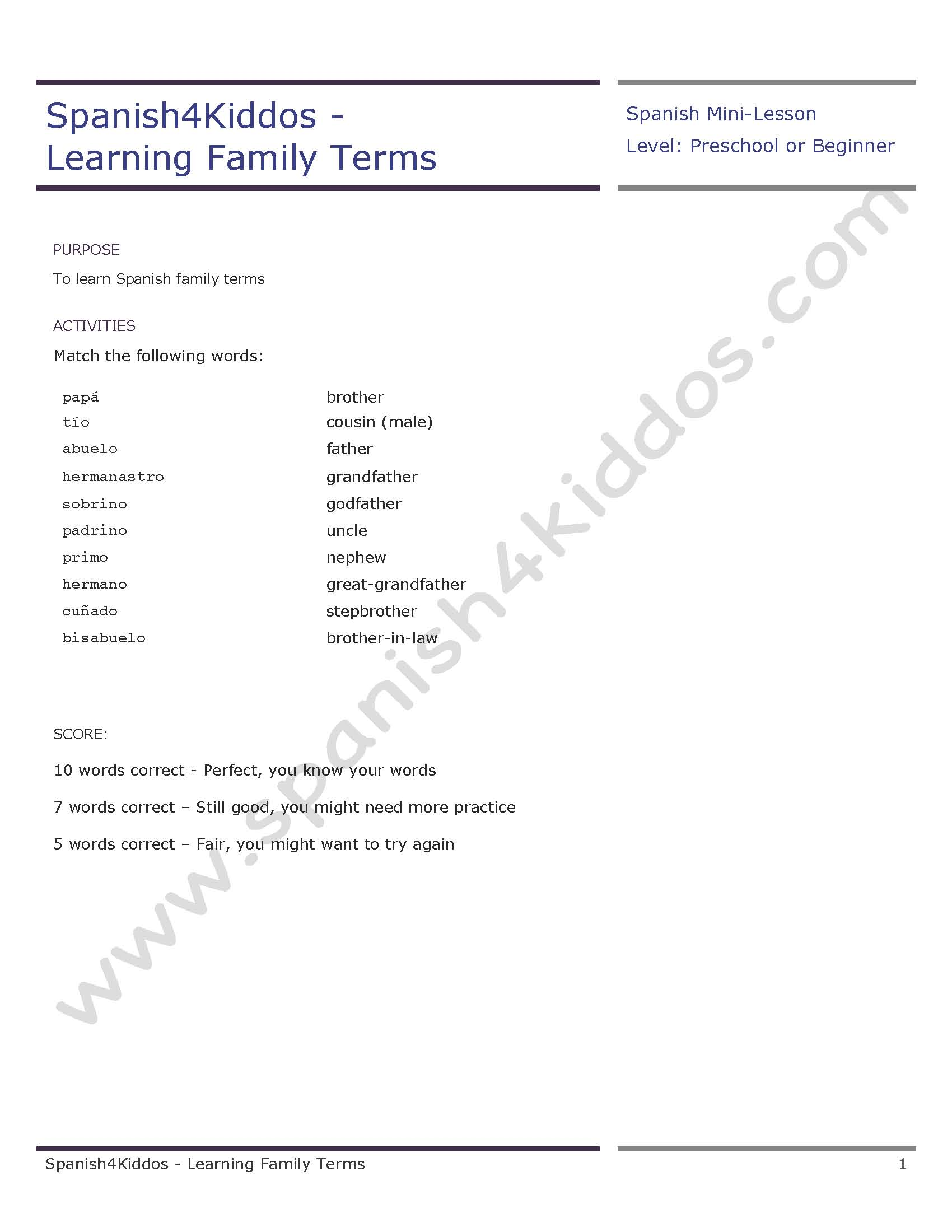 Learning Family Terms