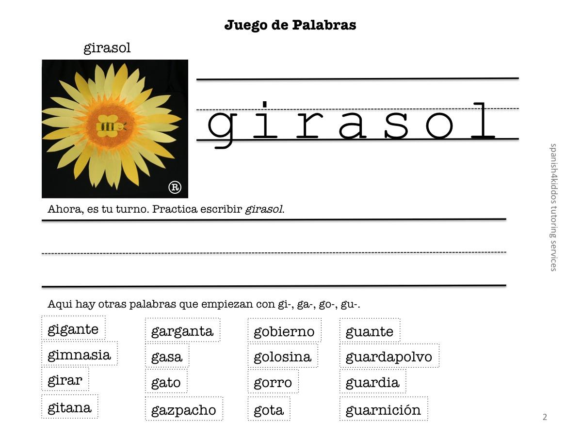 Learning Spanish Words With Gi Ga Go Gu