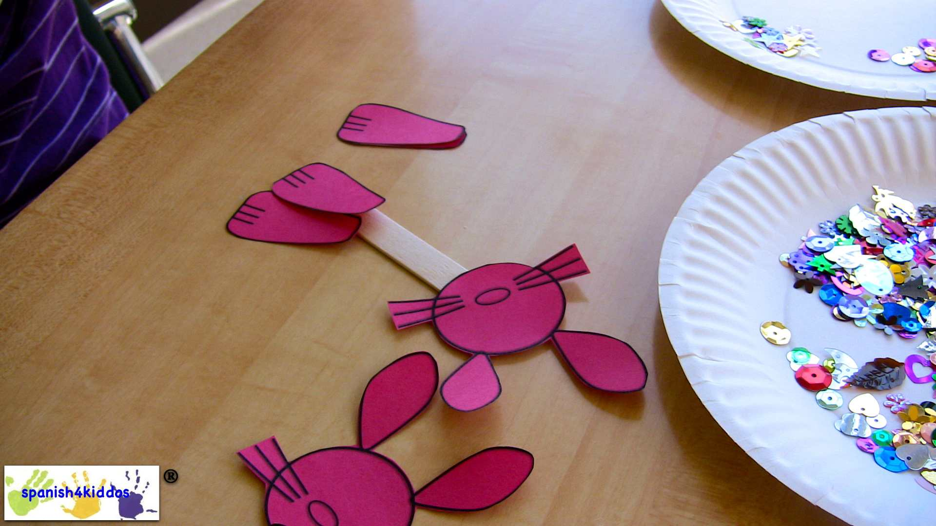 Easter Bunnies On Craft Stick
