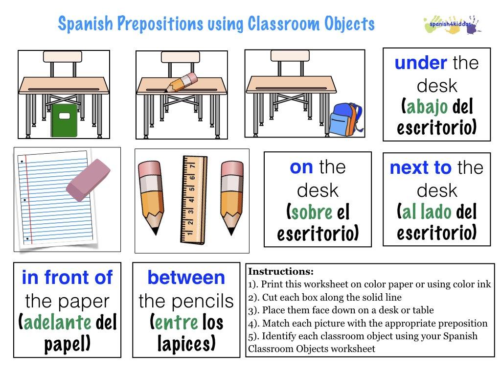 Spanish Prepositions Worksheet - Checks Worksheet