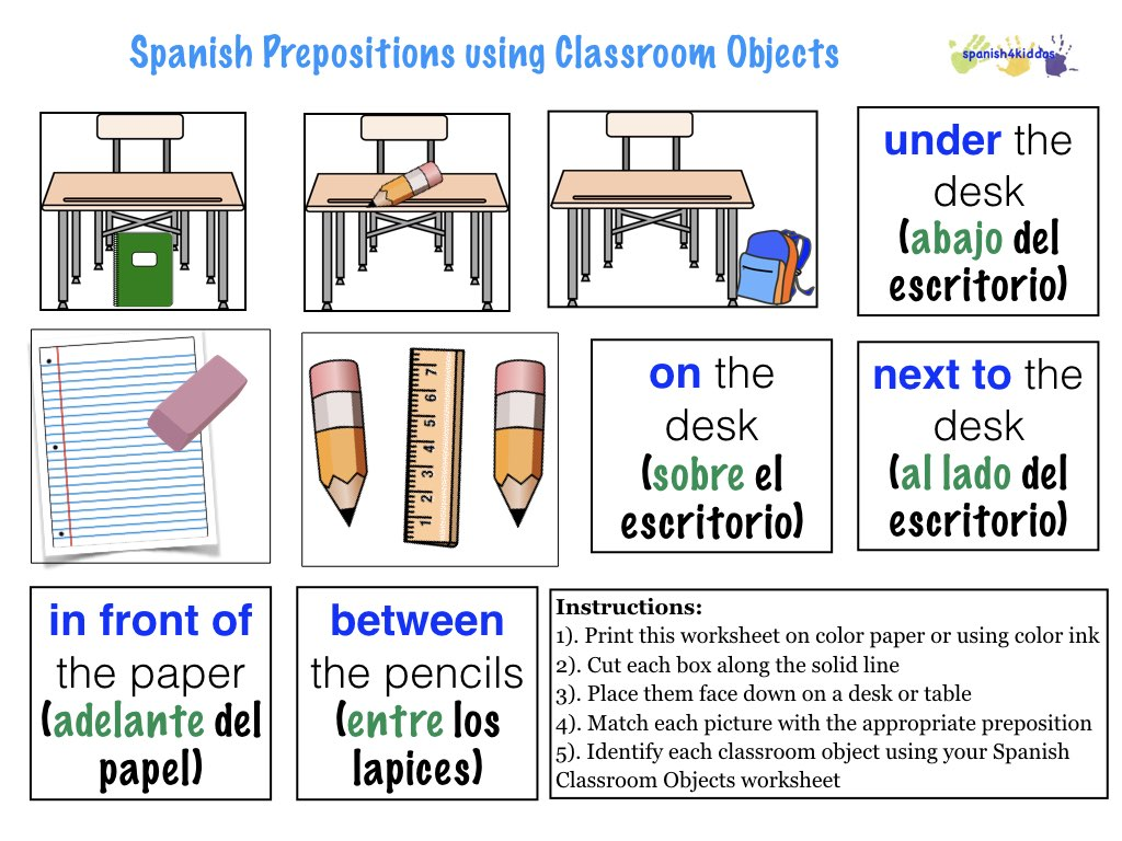 prepositions in spanish worksheet resultinfos. Black Bedroom Furniture Sets. Home Design Ideas