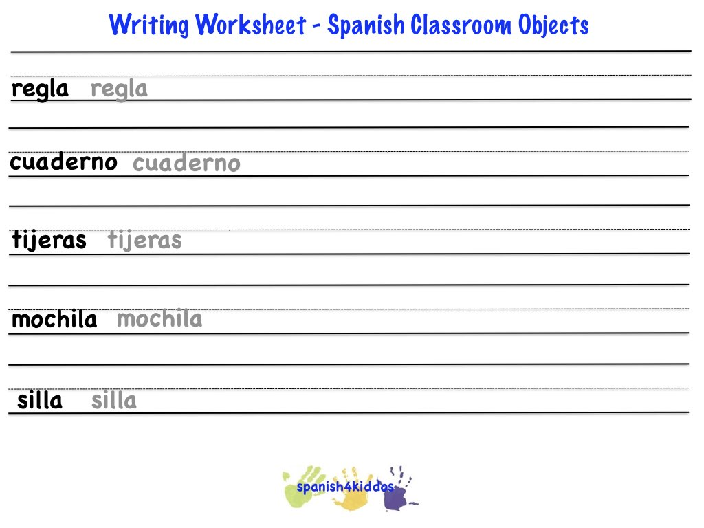 Spanish Classroom Objects Spanish4kiddos