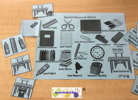 Use the Spanish Classroom Objects worksheet to identify items