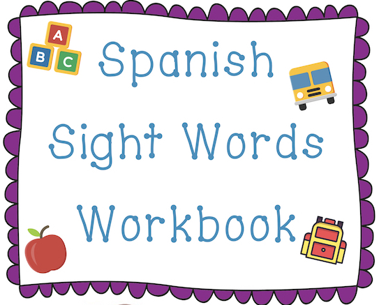 Spanish sight words free workbook