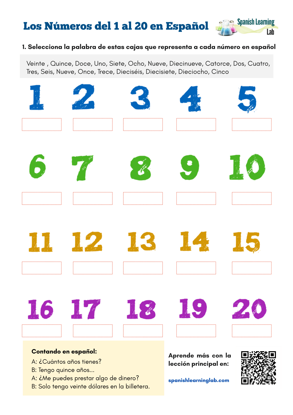 Numbers In Spanish From 1 To 20