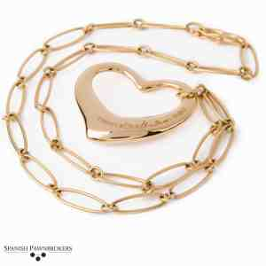 pre-owned Tiffany & Co Open heart pendant on a necklace singed Elsa Peretti made of 18-carat yellow gold