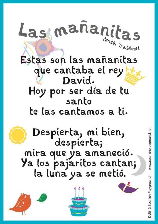 Happy Birthday Song In Spanish Free Printable Lyrics Spanish Playground