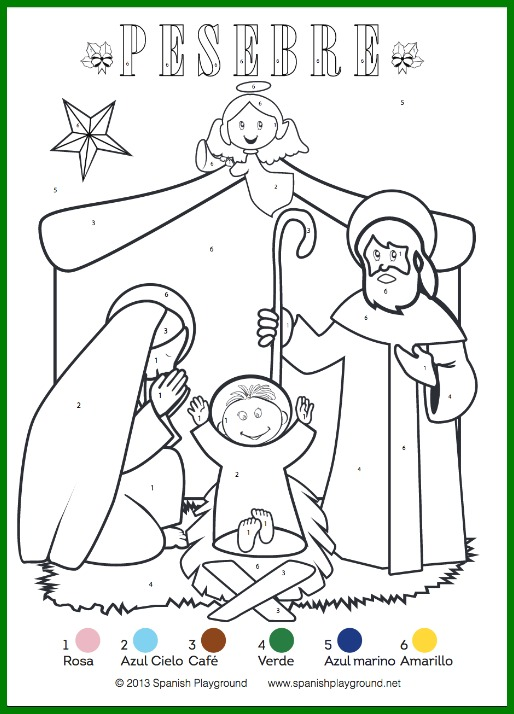 Spanish Color By Number Christmas Pages Nativity And
