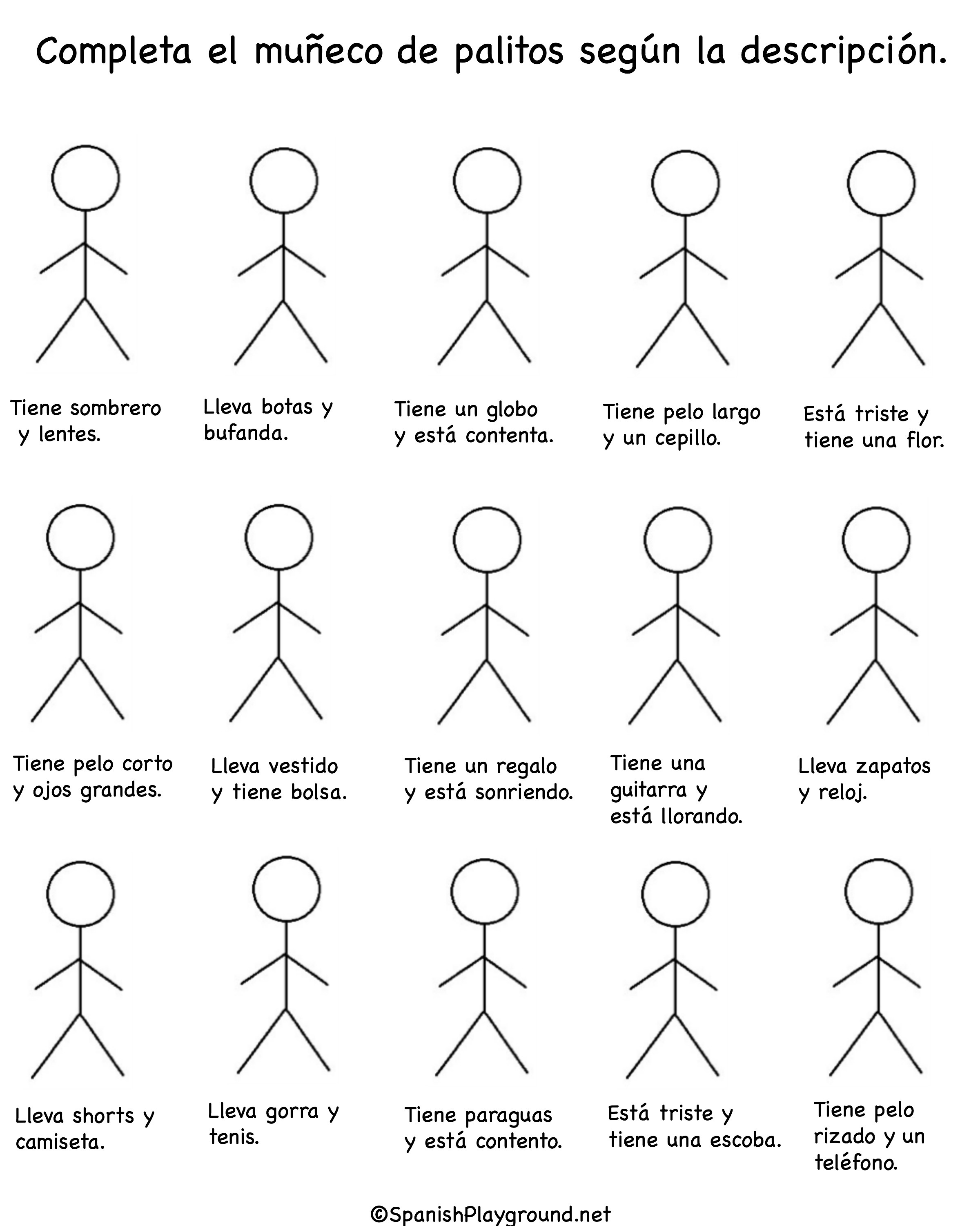 Spanish Vocabulary Games With Stick Figures