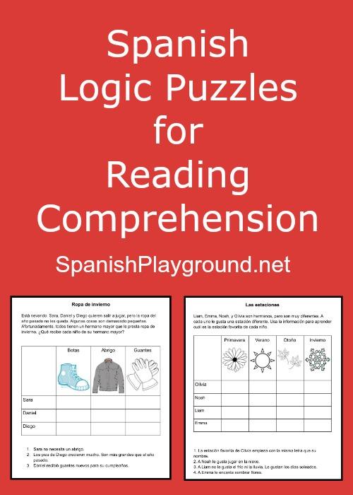 Spanish Logic Puzzles For Kids Spanish Playground