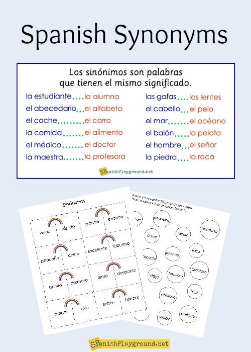 Spanish Synonyms For Elementary Students Spanish Playground