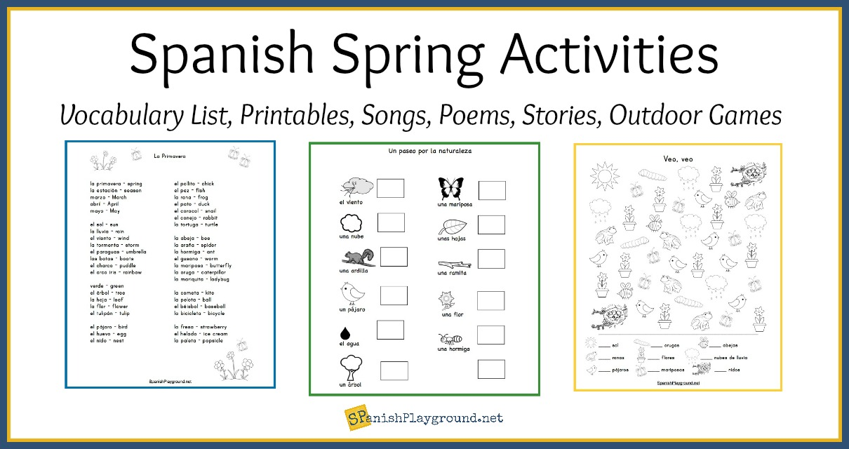 Spanish Spring Activities And Vocabulary List Spanish