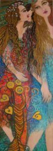 30 x 90 cm, acryl met bladgoud op canvas