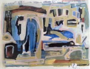 kind of blue 2015, 20x30cm, gouache en lithografie