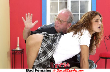 Angel bends over and gets her bare bubble butt spanked by strict Uncle Jesse