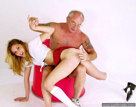 Uncle Jesse spanks a sexy girl OTK