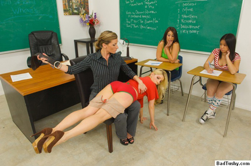 Teacher, Ariel X, punishes a hot blonde student for lateness with the leather belt