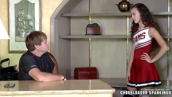 New spanking model Cassy Lau is a bratty cheerleader who arrives for her meeting with the coach