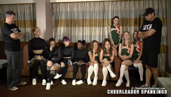 Cheer Squad Discipline: nine cheerleaders await their spankings