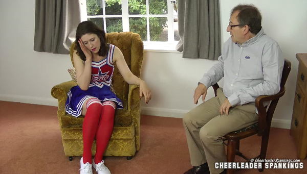 Cheerleader Katie Brown gets told off in her Father's study