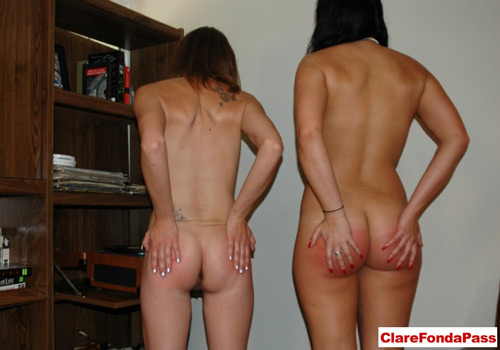 Alice and Nena face the wall for some cornertime and rub their sore bottoms