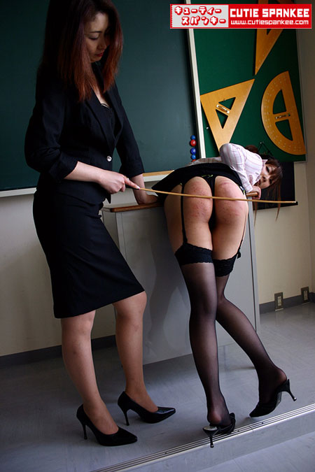 Young Female Teacher Miku gets a well-deserved Caning
