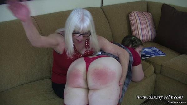 Dana Specht spanks Sunny's large bottom over her knee in That's How You spank Naughty Girls
