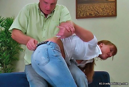Francesca is dragged over the knee in her tight denim jeans