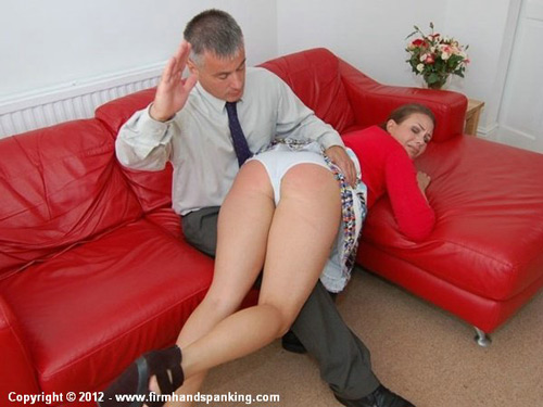 Aleesha gets a firm OTK hand spanking over her white panties