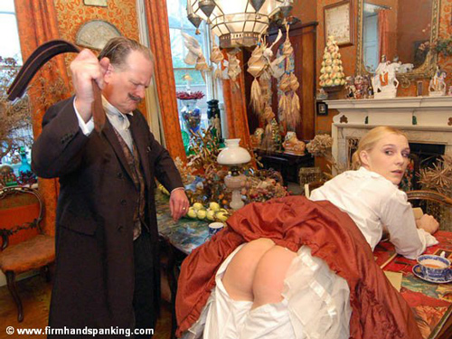 Amelia Jane Rutherford gets strapped in this Victorian Spanking scene