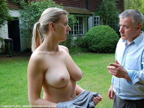 Naked Belinda Lawson is in trouble with Earl Grey in the garden