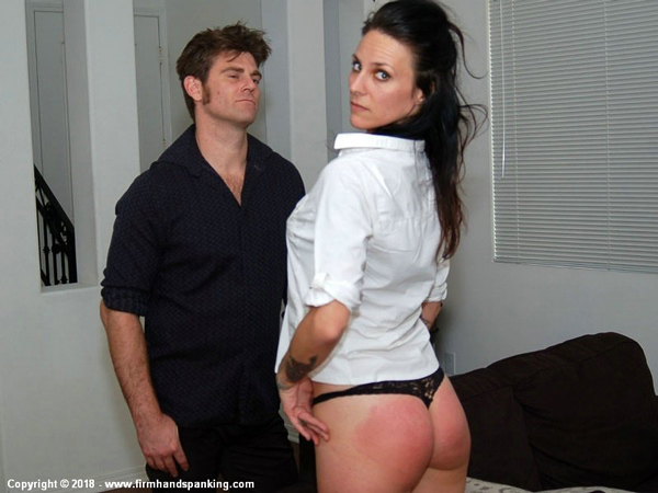 Delta Hauser's red bottom after her spanking