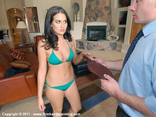 Bikini babe Melanie Taylor has her panties pulled off for 30 with a leather paddle